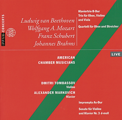 Beethoven: Piano Trio in B major / Trio for Oboe, Violin and Viola / Mozart: Quartet for Oboe, Violin, Viola and Cello K370 / Schubert: Impromptu Op.90 / Brahms: Sonata for Violin and Piano Op.108