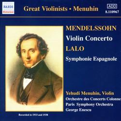 Mendelssohn: Violin Concerto / Lalo: Symphonie Espagnole (Menuhin)  (1933, 1938)