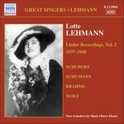 Lehmann, Lotte: Lieder Recordings, Vol. 2 (1937-1940)