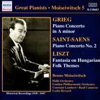 Grieg / Saint-Saens: Piano Concertos / Liszt: Hungarian Fantasy (Moiseiwitsch, Vol. 5) (1939-1947)
